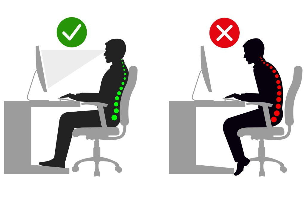 Sitting at Desk Showing Good and Bad Posture